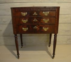 Standing Federal Mahogany Chest Circa early 1800's from antiquespaintedlady on Ruby Lane