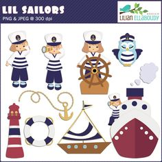 Lil sailors cliparts are cute for scrapbooking summer memories, invitations and cards.