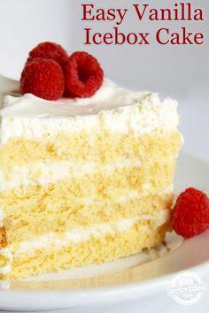 Your Family Will Love This Easy Vanilla Icebox Cake Cold Desserts, Summer Desserts, Easy Desserts, Delicious Desserts, Dessert Recipes, Diabetic Desserts, Dessert Ideas, Yummy Food, 5 Ingredient Desserts