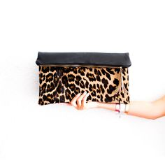Leopard Oversized Leather Clutch Black Cheetah by gmaloudesigns
