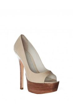 Alice + Olivia Laird Smooth Patent Heel: I love the wooden platform sole and stiletto heel.