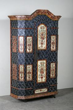 Original Painted Bavarian Armoire Dated 1850