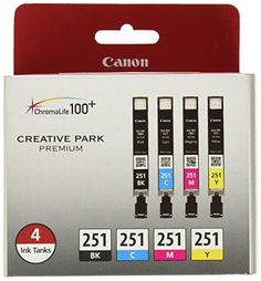 #Accessories The #Canon CLI-251 BK/CMY 4 Value Pack Ink for Canon InkJet Printers provides great ink savings. The pack includes CMY ink colors Black, Cyan, Magen...