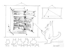 A cat teacher points to a diagram of a refrigerator filled with food. Th… - New Yorker Cartoon Poster Print by Saul Steinberg at the Condé Nast Collection Cartoon Wall, Cartoon Posters, The New Yorker, Poster Wall, Poster Prints, Saul Steinberg, Smart Set, Cat Comics, New Yorker Cartoons