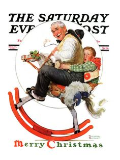 'Gramps on Rocking Horse' by Norman Rockwell – December 1933 issue of The Saturday Evening Post .love the look on the face of the boy about to fall off the rocking horse! Norman Rockwell Prints, Norman Rockwell Paintings, Illustration Noel, Illustrations, Christmas Illustration, Peintures Norman Rockwell, Norman Rockwell Christmas, Saturday Evening Post, Arte Pop