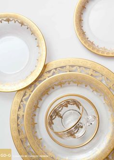Glass Dinnerware - Gold | Dinner Plate, Salad Plate, Bowl, Cup & Saucer // Casa de Perrin