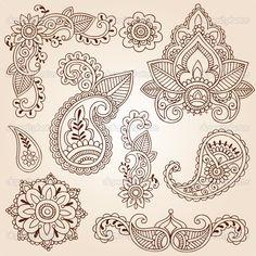 depositphotos_8410127-Henna-Mehndi-Paisley-Flowers-Doodle-Vector-Design-Elements.jpg (950×950)