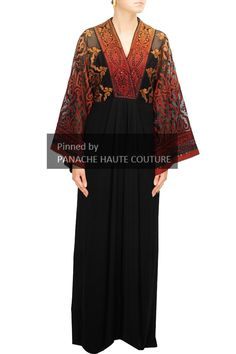 Black color applique Kaftan. For further details please contact us on WhatsApp +61-470219564 Elegant Gowns, Gowns Of Elegance, Lehenga Choli Online, Bridal Lehenga Choli, Wedding Abaya, Tarun Tahiliani, Party Wear Lehenga, Indian Ethnic, Kaftan