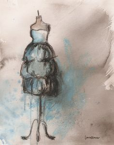 Original - Watercolor, Charcoal, and Pastel Painting - Vintage Alexis Dress - 11x14. $190.00, via Etsy.
