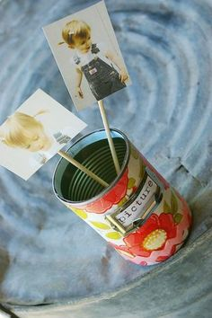 Cute upcycled tin cans and other DIY craft projects.