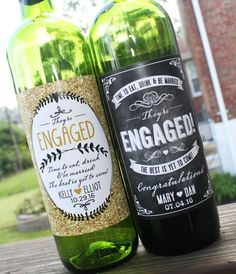 Best personalized engagement gift! Custom wine label printed and ship! Just peel the back and apply