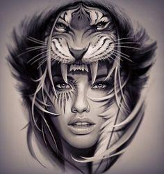 tiger digital art by davidgarciatattoo