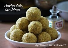 Hurigadale tambittu or thambittu recipe explained with step by step pictures. Hurigadale tambittu or thambittu is prepared using roasted gram, jaggery and dessicated coconut. Tambittu or thambittu is a very easy and tasty ladoo or unde recipe prepared during shivarathri festival. Indian Dessert Recipes, Indian Sweets, Sweet Desserts, Sweet Recipes, Food Festival, Festival Recipe, Indian Drinks, Delish, Roast