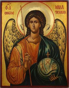 High quality hand-painted Orthodox icon of Saint Archangel Michael. BlessedMart offers Religious icons in old Byzantine, Greek, Russian and Catholic style. Religious Images, Religious Icons, Religious Art, Byzantine Icons, Byzantine Art, All Archangels, Paint Icon, Russian Icons, Angel Pictures
