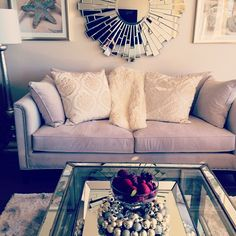 @Caroline Vincent incorporated our Roberto Sofa, Pascual Console Table, Coastal Gems series, and Empire Mirror into her luxurious space.