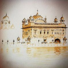 Ink and Coffee on Paper Here'e an amazing piece by Nina B. Dahl ( of Sri Harmandir Sahib Ji that was created using elements of a liquid many people enjoy in the early morning called coffee. Watercolor Paintings For Beginners, Watercolor Landscape Paintings, Watercolour, Coffee Painting Canvas, Kathakali Face, Gouache, Disney Drawings Sketches, Pencil Drawings, Harmandir Sahib