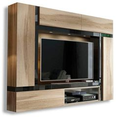 Add luxury to your house with this beautiful Jeremiah Entertainment Center. Gather everyone around to watch your favorites TV shows and movies. This Jeremiah Entertainment Center is constructed from MDF board and is sturdy and durable. Wall Unit Designs, Tv Wall Design, Tv Unit Design, Entertainment Wall Units, Modern Wall Units, Tv Wall Decor, Wall Art, Cool Tv Stands, Modular Walls