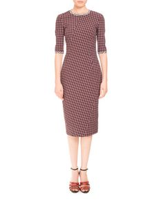 Fitted+Plaid+Half-Sleeve+Dress,+Scarlet+by+Altuzarra+at+Bergdorf+Goodman.
