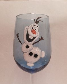 Items similar to Olaf hand painted wine glass frozen Anna Elsa disney tangled ariel mermaid belle on Etsy Decorated Wine Glasses, Hand Painted Wine Glasses, Painted Wine Bottles, Wine Glass Crafts, Wine Craft, Wine Bottle Crafts, Wine Painting, Bottle Painting, Pebeo Porcelaine 150