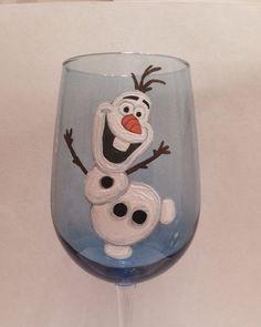 Items similar to Olaf hand painted wine glass frozen Anna Elsa disney tangled ariel mermaid belle on Etsy Christmas Wine Glasses, Diy Wine Glasses, Decorated Wine Glasses, Hand Painted Wine Glasses, Painted Wine Bottles, Wine Glass Crafts, Wine Craft, Wine Bottle Crafts, Wine Painting