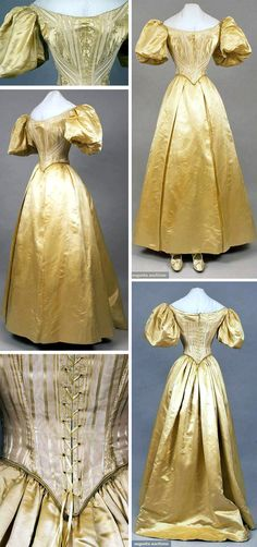Ballgown, Maison Truffert, San Francisco, ca. 1890s. Bodice, skirt, shoes & hose of buttercup yellow silk brocade, floral & striped. Front-lacing bodice, points at front & back, short satin balloon sleeves. Trained satin skirt, matching satin pumps with bow & ankle strap, yellow silk hose. Augusta Auctions