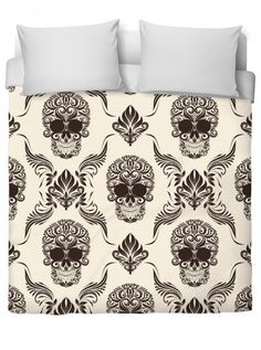 """""""Skull And Flourishes"""" Duvet Cover by Inked (White) #InkedShop #InkedMag #Skull #Flourishes #Duvet #Cover #White"""