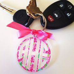 Lilly Pulitzer Monogram Keychain by GirlAndHerDogShop on Etsy, $11.00