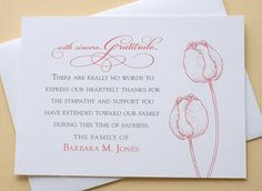 Funeral Thank You Cards with 2 Green or 2 Burgundy Tulips - Set of 36 FLAT Card