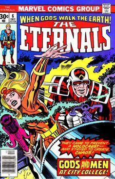 Eternals include the superhuman Makkari (say Mercury), Sersi (say Circe), Ikaris (say Icarus) - long-lived beings mistaken for the legendary gods. Jack Kirby intended them to be on their own world, but later writers found a way for them to be part of the Marvel Universe.