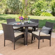 Marin 5pc Wicker Dining Set - Brown - Christopher Knight Home