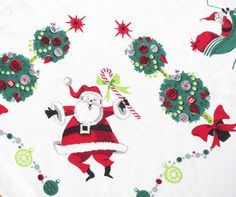 Vintage Christmas Tablecloth MID CENTURY Santa Claus by NeatoKeen, $84.00