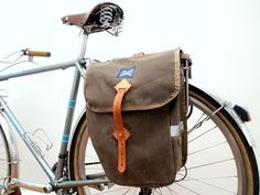 Laplander bags — City Panniers - Brown Waxed Canvas