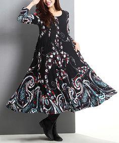 Loving this Black Swirl Swing Midi Dress on #zulily! #zulilyfinds