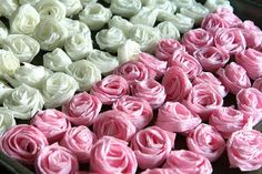 These lovely crepe paper roses are a creative way to add an elegant girly touch to a wedding shower, wedding, or any other event that is craving some decor on it's bare tables. Did you ever think something as simple as paper could evolve into something so beautiful? Feel free to add your own ideas…
