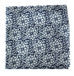 navy blue floral pocket square