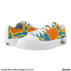 orange-blue-yellow design printed shoes