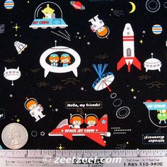 Kokka Trefle SPACECRAFT Japanese Space Ships on Black Canvas Fabric - 1/2 Yard