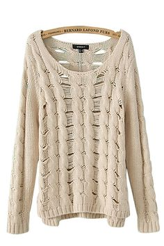 Holed O-neck Long Sleeves Loose Sweater