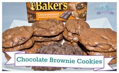 Chocolate Brownie Cookies- add pecans and white chocolate Chocolate Brownie Cookies, Bakers Chocolate, Chocolate Cookie Recipes, White Chocolate, Drop Cookies, Yummy Cookies, Unsweetened Chocolate, Peanut Butter Cups, Just Desserts