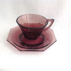 Hazel Atlas Glass Moroccan Amethyst Mid Century Glass Octagonal Cup and Saucer