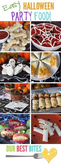 TONS of great ideas for Easy #Halloween Party Food.  Kid and adult friendly, perfect for family fun and class parties #lbloggers #bloggers #pbloggers