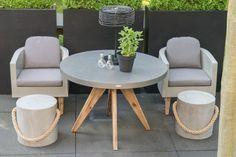 Curve Beton Sitzgruppe Anthrazit 5 Teilig. Tisch Rund 110 Cm