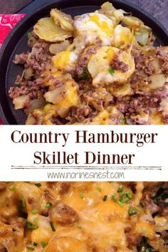Country Hamburger Skillet Dinner A Quick Dinner Time Meal of sliced fresh potatoes, ground beef, onions, and LOTS of creamy melted cheese. The perfect hearty meaty meal. Sure to be a family favorite dinner at your Nest. Simple meals are the BEST! Ground Beef Recipes For Dinner, Dinner With Ground Beef, Ground Beef Recipes Skillet, Ground Hamburger Recipes, Meals To Make With Ground Beef, Hamburger Dinner Ideas, Best Ground Beef Recipes, Hamburger Meat Recipes Easy, Skillet Recipes
