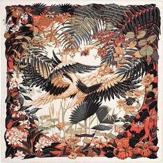 2015 S/S   Flamingo Party   Shawl in cashmere and silk (140 x 140 cm)   Ref. : H242898S 06 Naturel/Corail/Noir