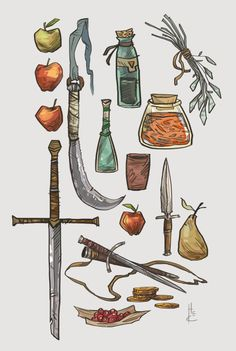 Lately, for warm up sketches, I have been drawing various weapons, potions and fruit. They were fun little doodles, I think I'll do some more some time. Now to get back to work!