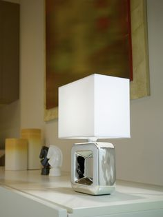 Eglo Lighting / Tempio / Ceramic Chrome & White Table Desk Lamp