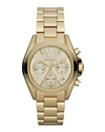 Y1M36 Michael Kors  Mid-Size Golden Stainless Steel Bradshaw Chronograph Watch