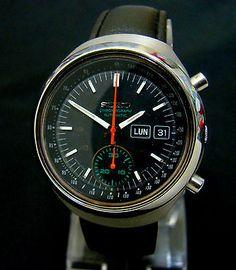 Vtg Rare 1970 Seiko Darth Vader Chronograph 6139-7100 Automatic Ss Mens Watch