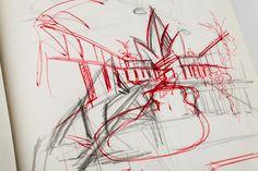 """Bozzetto a matita+penna del Summer Village, una location di """"Mega Play"""""""