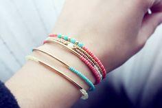 mint gold bar bracelet minimalist jewelry friendship by PetiteCo, $10.00